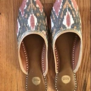 Indian Ikat cotton/leather canvas mules flats 9-10